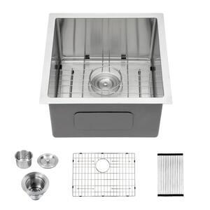 Stainless Steel 16-Gauge 15 in. Single Bowl Undermount Kitchen Sink with Bottom Grid