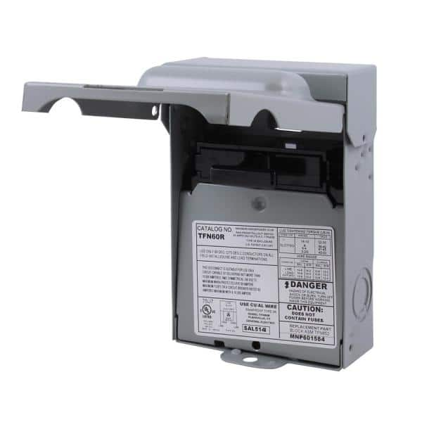 GE 60 Amp 240-Volt Non-Fuse Metallic AC Disconnect-TFN60RCP - The Home Depot   Ge Tfn60rcp Ac Disconnect Wiring Diagram      The Home Depot