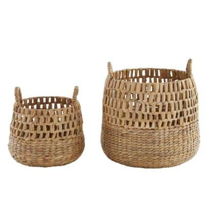 Round Natural Woven Water Hyacinth Decorative Baskets (Set of 2)