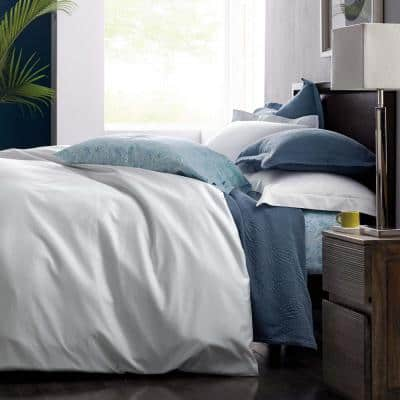 Legends White Solid Egyptian Cotton Sateen Oversized Queen Duvet Cover