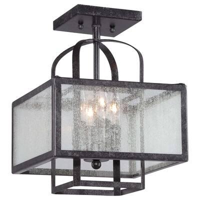 Camden Square 4-Light Aged Charcoal Semi-Flush Mount Light