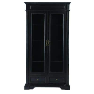 76 in. Rubbed Black Wood 4-shelf Standard Bookcase with Glass Door