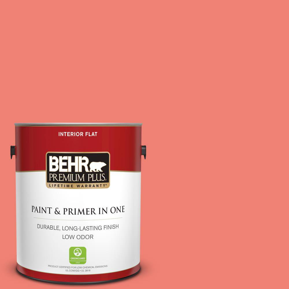 Behr Premium Plus 1 Gal 170b 5 Youthful Coral Flat Low Odor Interior Paint And Primer In One 130001 The Home Depot