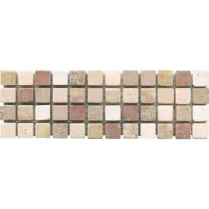 Mosaico C-1600 3 in. x 8 in. x 10 mm Natural Stone Mesh-Mounted Mosaic Tile
