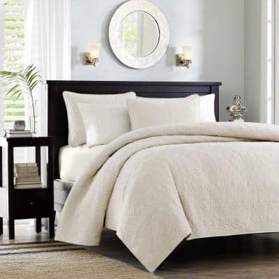 Mansfield 3-Piece Cream King/Cal King Coverlet Set