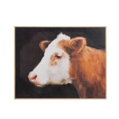Cow Head Wood Framed Canvas Wall Art