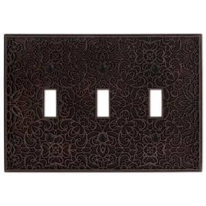 Momfort 3 Gang Toggle Metal Wall Plate - Aged Bronze
