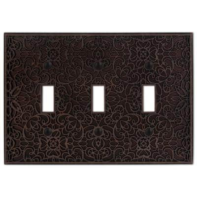 Momfort 3 Gang Toggle Metal Wall Plate - Aged Bronze