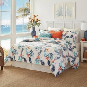 Birds Eye View 4-Piece Blue Botanical Cotton Queen Comforter Set