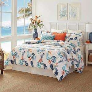Birds Eye View 4-Piece Blue Botanical Cotton California King Comforter Set