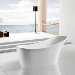 63 in. Acrylic Reversible Drain Oval Slipper Flatbottom Freestanding Bathtub in White