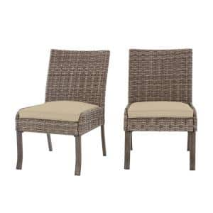 Windsor Brown Wicker Outdoor Patio Stationary Armless Dining Chair with CushionGuard Putty Tan Cushions (2-Pack)