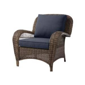 Beacon Park Brown Wicker Outdoor Patio Stationary Lounge Chair with CushionGuard Sky Blue Cushions