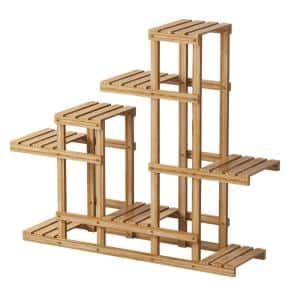 Wood Multi-Tier Plant Shelf Holder Indoor Outdoor Flower Rack Display Storage Shelves Plant Stand