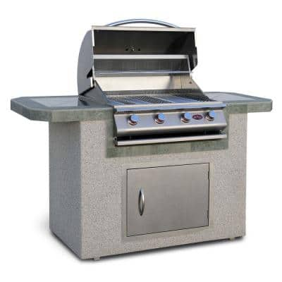6 ft. Stucco and Tile Grill Island with 4 Burner Gas Grill in Stainless Steel