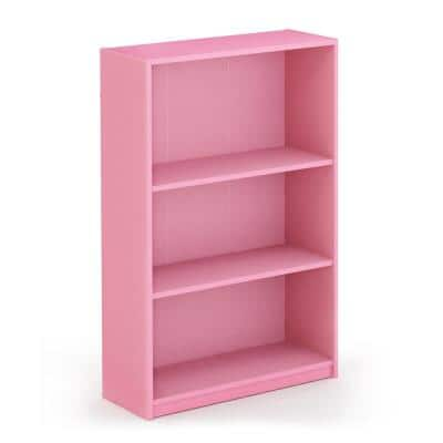 40.3 in. Light Pink Wood 4-Shelf Etagere Bookcase with Adjustable-Shelves