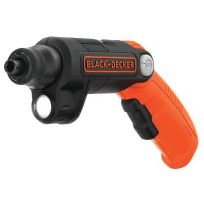 4-Volt MAX Lithium-Ion Cordless 1/4 in. Electric Screwdriver with Pivoting Handle, Light and Charger