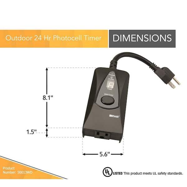 Digital Timer w// Dusk-to-Dawn Photocell Function Light Sensing Multi-Purpose CAL