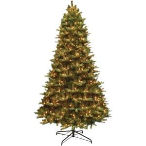 9 ft. Pre-Lit Mixed Balsam Fir PE and PVC Artificial Christmas Tree with Lights