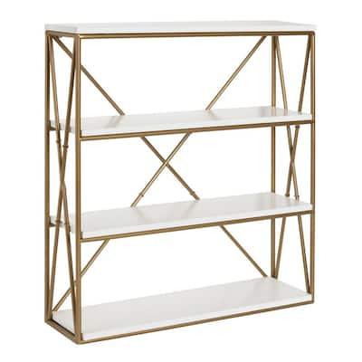 Ascencio 6 in. x 22 in. x 24 in. White Metal Decorative Wall Shelf