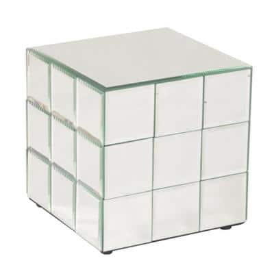 Short Mirrored Puzzle Cube Pedestal Table