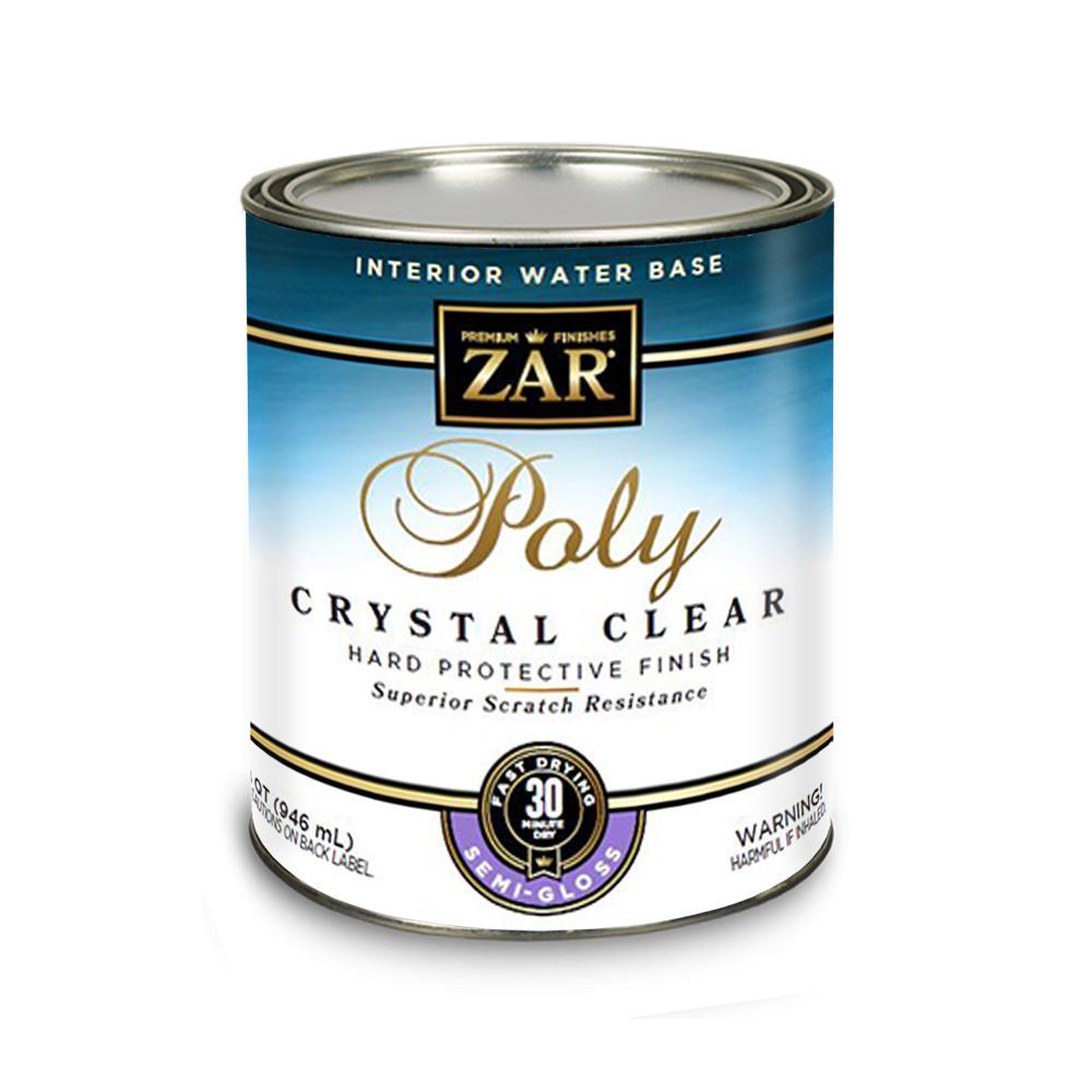 1 qt. Clear Semi-Gloss Water-Based Interior Polyurethane - Crystal Clear