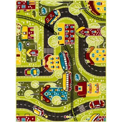 Cars and Trains Multi-Colored Green 7 ft. 10 in. x 10 ft. Area Rug