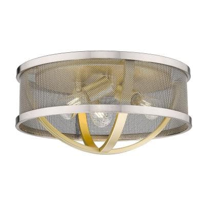 Colson 15 in. 3-Light Olympic Gold Flush Mount