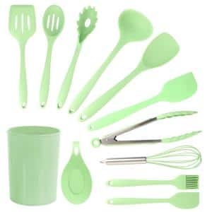 Mint Green Silicone Cooking Utensils, (Set of 12)