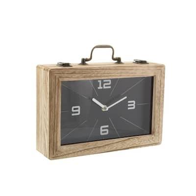 Black Wood Natural Analog Tabletop Clock