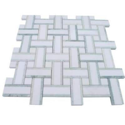 Yarn Olive Tree 12-1/2 in. x 12-1/2 in. x 10 mm Polished Marble Mosaic Tile