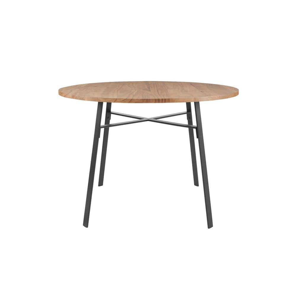 Home Decorators Collection Halford Pecan Brown Finish Round Dining Table For 4 With Black Metal Base 46 3 In L X 30 In H Bt0283d The Home Depot