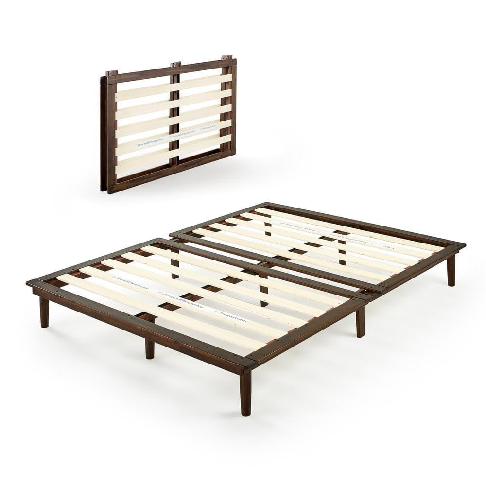 Zinus Bobbie Brown Full Wood Platform Bed Frame Fpwsba 10f The Home Depot