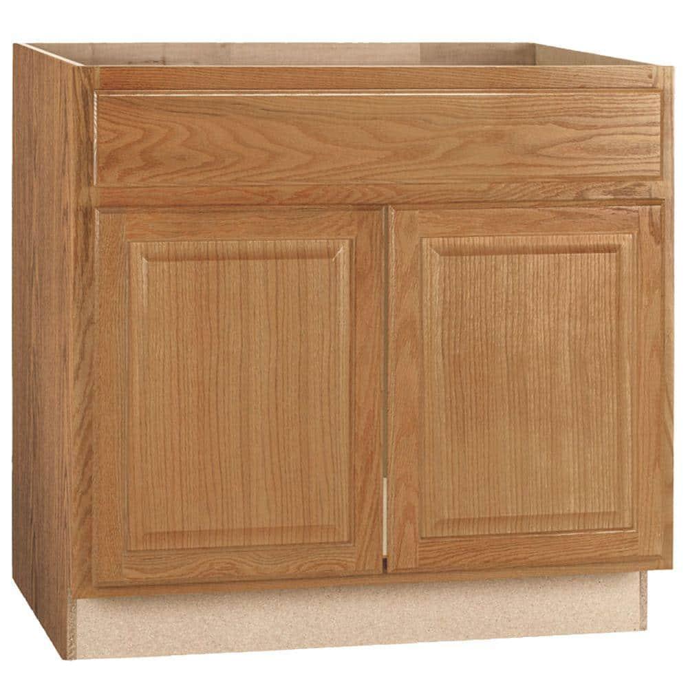 Reviews For Hampton Bay Hampton Assembled 36x34 5x24 In Sink Base Kitchen Cabinet In Medium Oak Ksb36 Mo The Home Depot