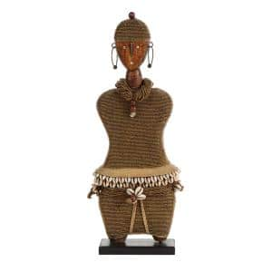 Large Hand-Crafted Pine Wood, Cowrie Shells, Gold Beads and Kente Cloth African Woman Namji Doll