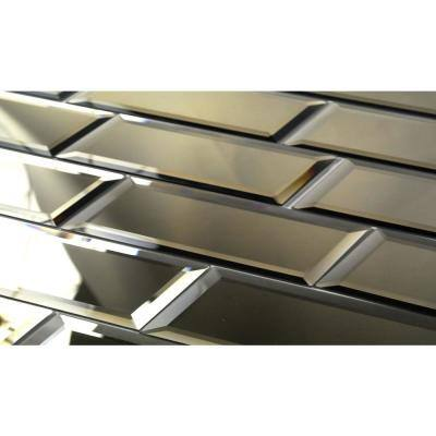 Reflections Gold Beveled 3 in. x 12 in. Glass Mirror Subway Tile (14 sq. ft./Case)
