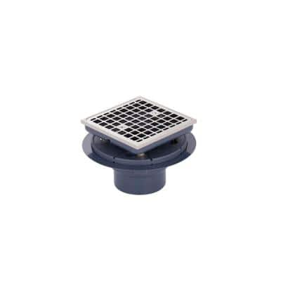 Brass and PVC Square Shower Drain and Strainer in Brushed Nickel
