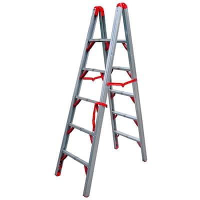 6 ft. OSHA Compliant Double Sided Folding Aluminum Step Ladder (STIK)