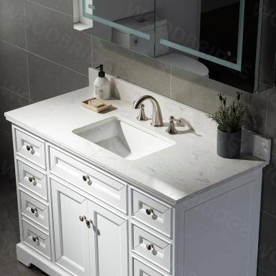Wigston 49 in. W x 22 in. D Single Basin Engineered Quartz Marble Vanity Top in Carrara White with White Basin