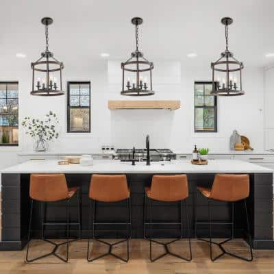 Farmhouse Industrial Black Candlestick Chandelier, Transitional Drum Island Pendant Light with Bronze Faux Wood Cage