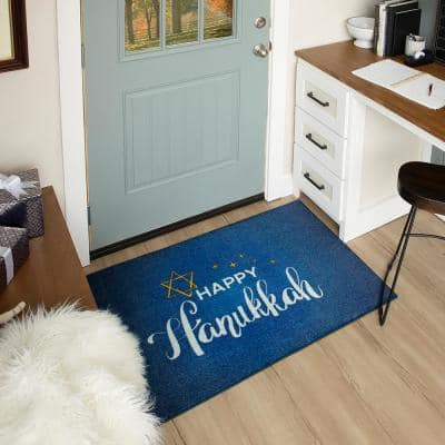 HAPPY HANUKKAH MULTI 2 ft. 6 in. x 4 ft. 2 in. Scatter Area Rug
