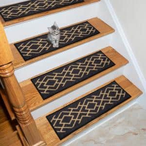 Ottohome Collection Black 9 in. x 26 in. Polypropylene Stair Tread (Set of 7)