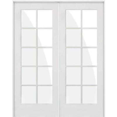 48 in. x 80 in. Craftsman Shaker 10-Lite Right Handed MDF Solid Hybrid Core Double Prehung Interior Door