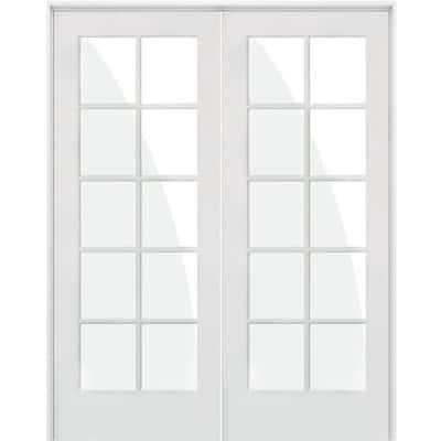 72 in. x 80 in. Craftsman Shaker 10-Lite Right Handed MDF Solid Hybrid Core Double Prehung Interior Door