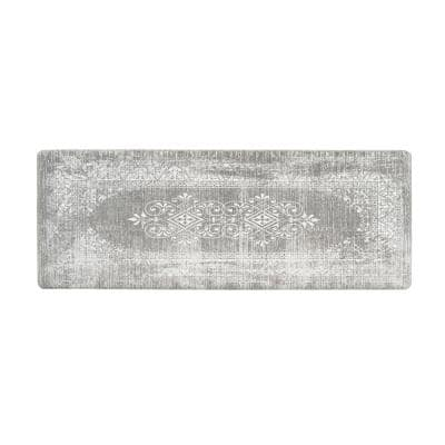Gray Distressed Traditional Vintage Design 18 in. x 47 in. Anti Fatigue Standing Mat
