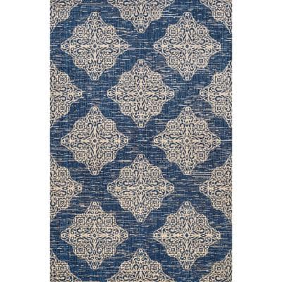 Jonathan Y Tuscany Ornate Medallions Navy Beige 3 Ft X 5 Ft Indoor Outdoor Area Rug Smb121a 3 The Home Depot