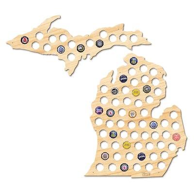 26 in. x 24 in. Large Michigan and Upper Peninsula Beer Cap Map
