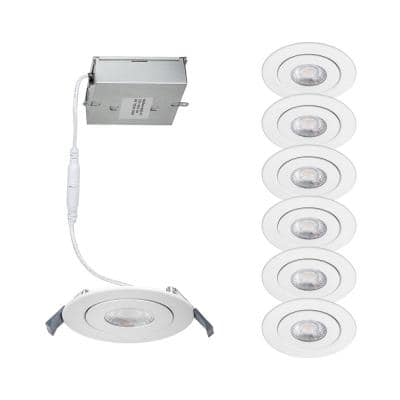 Lotos 4 in. 3000K Round Remodel Recessed Integrated LED Adjustable Kit in White (6-Pack)