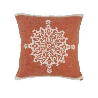 Mandala Rust Medallion Tufted Border Poly-Fill 20 in. x 20 in. Throw Pillow