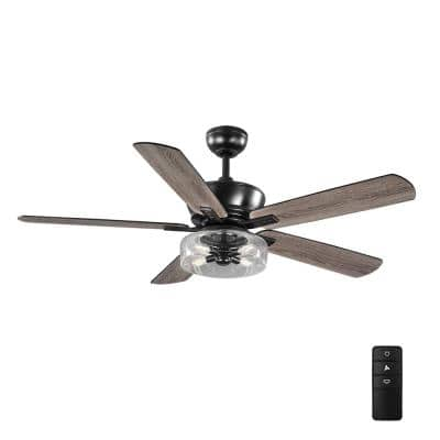 Aberwell 56 in. LED Matte Black Indoor/Outdoor Ceiling Fan with Light Kit and Remote Control